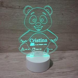 Lámpara Osito con datos nacimiento