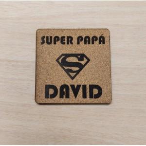 """Juego de dos posavasos personalizados """"Super Papá"""""""