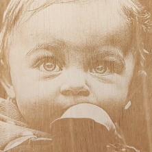 Fotograbado en madera con mensaje