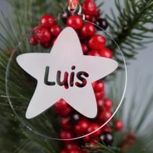 Bola de Navidad con estrella grabada